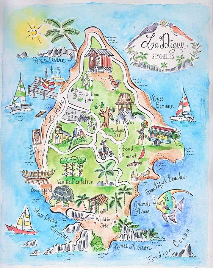 Карта схема с островами
